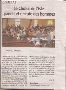 Le chœur de l'Isle dans les journaux